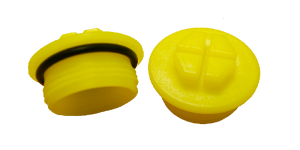 Threaded yellow sealing caps with o-ring
